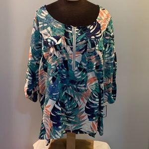 🎈🎈 Dana Buchman XXL 1/4 zip hi lo blouse